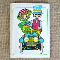 Vintage Photo Album- Cute Travel Album with Antique Automobile Illustration- Kawaii Japanese Photo Book, Retro Scrapbooking Supply