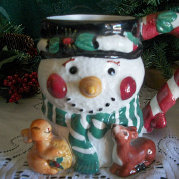 Snowman Christmas Tableware Ceramic Winter Friends Hot Cold Beverage Mug Vintage Holiday Home Decor Hot Chocolate Cookies for Santa Cup