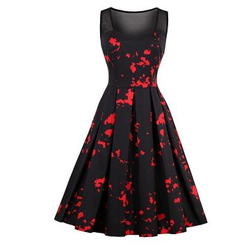 Women's Vintage Vampire Pin-Up Girl Gothic Retro Dress