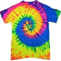 Tie Dyes Men's Tie Dyed Performance T-Shirt H1000 Spiral-neon raindow-medium