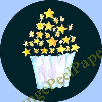 Watercolour cupcake, Watercolour clip art, Watercolor clipart, Stars Cupacke, Watercolour Stars, vector, png, Bakery Art, Cake, Sweet Treat