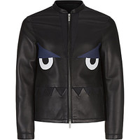Fendi Monster Face Perforated Leather Jacket