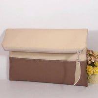 Evening clutch bag, wedding clutch for bride, foldover leather clutch, beige leather purse, gift for bridesmaids, wedding brown clutch bag