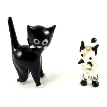 Glass Cat Figurine, Black Scaredy Cat and Clear Siamese Vintage Hand Blown Murano style Set of Kittens