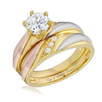 14K Yellow Gold Rose Gold 1CT Round Cut Russian Lab Diamond Bridal Set