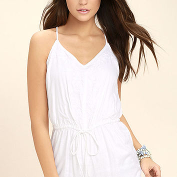Element Eden Roses White Embroidered Romper
