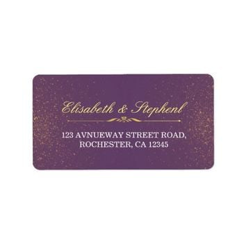 Purple Gold Glitter Sparkle Wedding Address Labels
