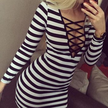 Black Striped Hollow-out Plunging Neckline Long Sleeve Mini Dress