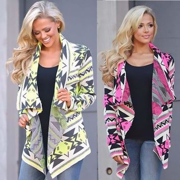 Women Long Cardigan Pink/Yellow Poncho Collarless Long Sleeve Asymmetrical Irregular Printed Casual Shrug Coats Jacket