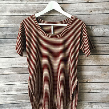 Eliza Striped Tee (Burgundy)