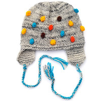 Knitted Toddlers Kids Childrens Boys Girls Baby Hat, Grey with Blue - Turqouise Yellow Brown Orange Bobbles with EarFlap, all sizes