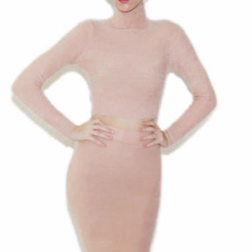 Fuzzy Mock Neck Sweater and Pencil Skirt Set in Rose