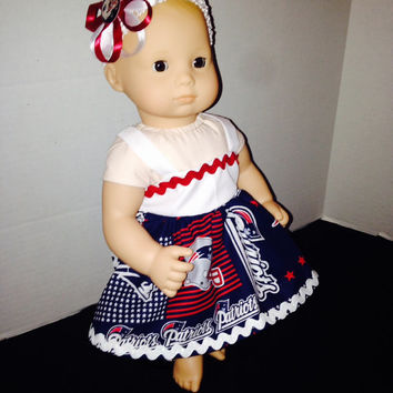 "American Girl Bitty Baby 15"" Baby Doll Cabbage Patch Doll Dress Sets New England Patriots Material By Sweetpeas Bows & More"