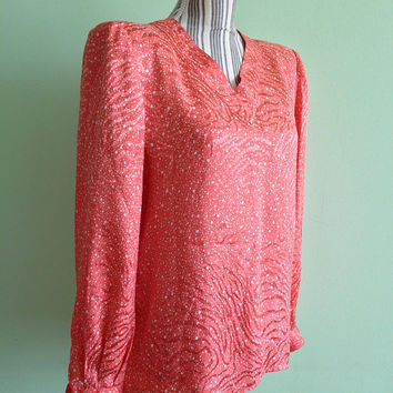 Valentino Miss V Vintage Silk Blouse, V Neck Shirt in Orange Peach White With Long Sleeves And Shoulder Pads, 1980s 80s Womens Fashion