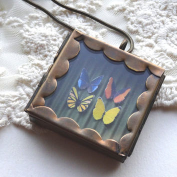 1- Butterfly Specimen Necklace Insect Under Glass Pane Shadow Box OOAK Unique Mini Butterflies Glass Locket PeculiarCollective