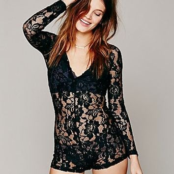 Free People Womens Lace Henley Union Romper - Black