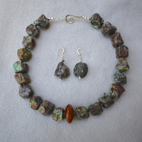 Chrysophrase Rough Cut Nugget Necklace and Earring Set with Bakelite Focal