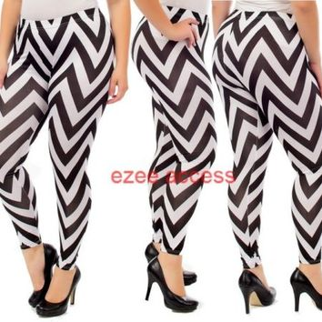SeXY WoMeNS PLuS SiZe CHeVRoN ZiG ZaG STReTCHY LeGGiNGS TiGHTS PaNTS 1X,2X,3X,4X