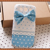 Diy Handmade Cloth Art Phone Case no.62d Light blue dots with bow for Samsung Galaxy S3 S4 S2 for T-Mobile T989 Note3 Note2 LG Nexus 4 E960