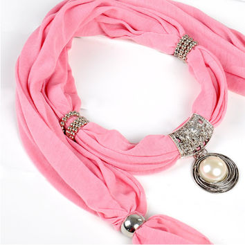 White Pearl Pendant Scarf Charm Flower Ring Jewelry Necklace Scarves