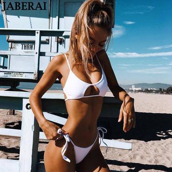 JABERAI white hollow out bikini set 2018 halter top push up swimwear women thong bottom brazilian bikinis bathing suit swimsuit