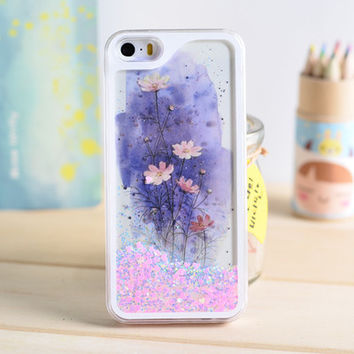 Lotus Dynamic Liquid Pink Glitter Sand Quicksand Star Bling Clear iPhone 5/5S Phone Case