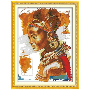 The African Woman Patterns Counted Cross Stitch 11CT 14CT Cross Stitch Sets Chinese Cross-stitch Kits Embroidery Needlework