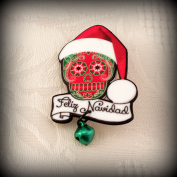 Feliz Navidad Merry Christmas Green and Red Sugar Skull Santa Hat with Jingle Bell Pin Brooch in Bright Red FREE SHIPPING Gift Under 10