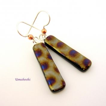 Textured Iridescent Fused Glass Dangle Earrings with Metallic Colors
