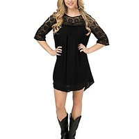 Umgee Women's Black with Lace Trim 3/4 Sleeve Shift Dress