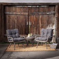 Wicker Resin Patio Furniture Set with 2 Chair Cushions & Side Table