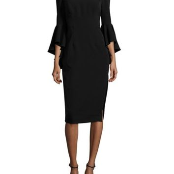 NICHOLAS - Bell Sleeve Draped Belt Dress