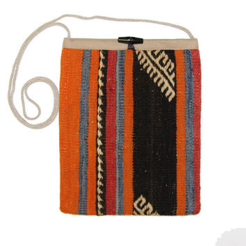Alla Orange/Black Striped Pattern Kilim Bag