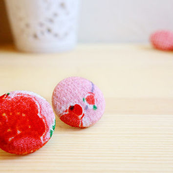 Silk Kimono earrings, Japanese authentic silk Kimono covered button stud earrings - SHINJU - Plum blossom