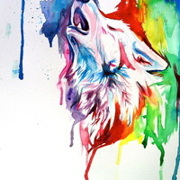 Rainbow Wolf Art Print by Katy Lipscomb