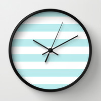 Turquoise Aqua Blue Stripe Horizontal Wall Clock by BeautifulHomes