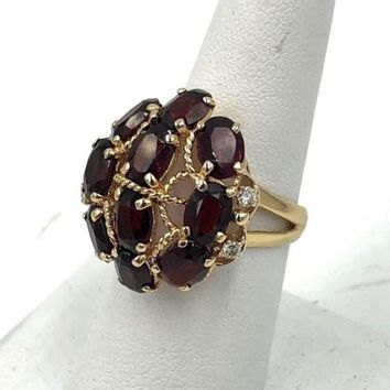Vintage 14k Gold 7.50cts Garnet / Diamond Statement Ring