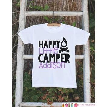 Girl's Happy Camper Outfit - White Shirt, Onepiece - Personalized T-Shirt or Onepiece - Camping Shirt Baby, Toddler, Youth - Adventure