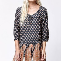 Element Kelly Mixed Print Dress - Womens Dress - Black