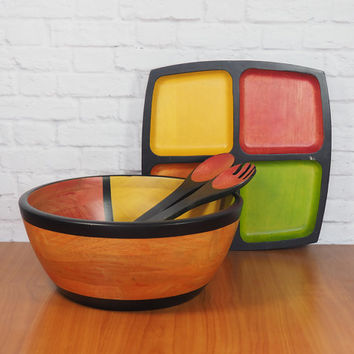 Color Block Wooden Serving Set / Salad Bowl and Divided Platter