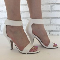 Luxe Open Toe Heels in White