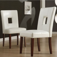 Stylish 2-Piece Chair Center-Cut Backs Dining Room Furniture White Faux Leather
