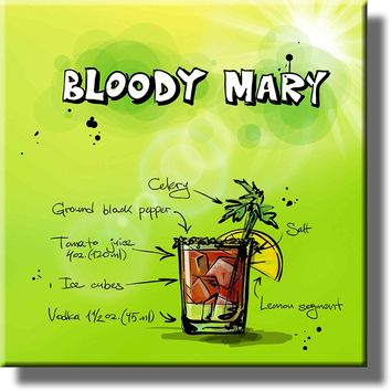 Bloody Mary Alcohol Drink Picture on Stretched Canvas, Wall Art Decor, Ready to Hang!