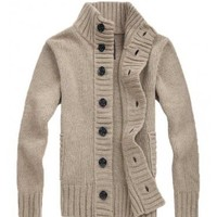 The Cole Knit Cardigan Tan - leatherandcotton