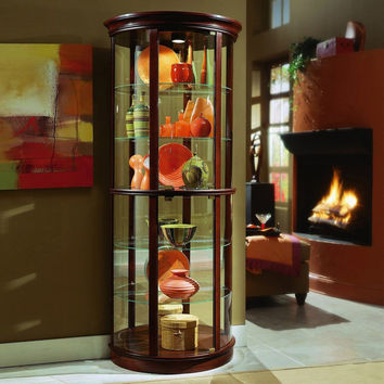 Cherry Half Round Curio Cabinet by Pulaski Furniture