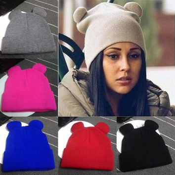 LMF9GW Fashion Women Winter Warm Knitted Hat Cat's Ears Women's Hat Knitted Caps Casual Female Beanies Hip-hop Skullies Solid Color Y1