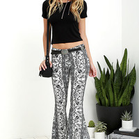 Floral Festival Grey and Black Floral Print Flare Pants