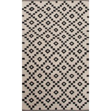 Scandinavia Nordic Coll. Flat-Weave Durable Wool Ivory/Black Croix Area Rug (2 x 3)