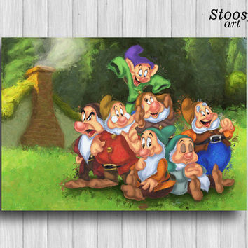 seven dwarfs print snow white art disney watercolor gift