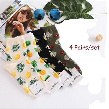 4 Pairs Fashion Women Pineapple Lemon Banana Cherry Fruit Design Cotton Socks